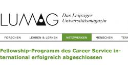 """LUMAG: """"Fellowship-Programm des Career Service international erfolgreich abgeschlossen"""""""