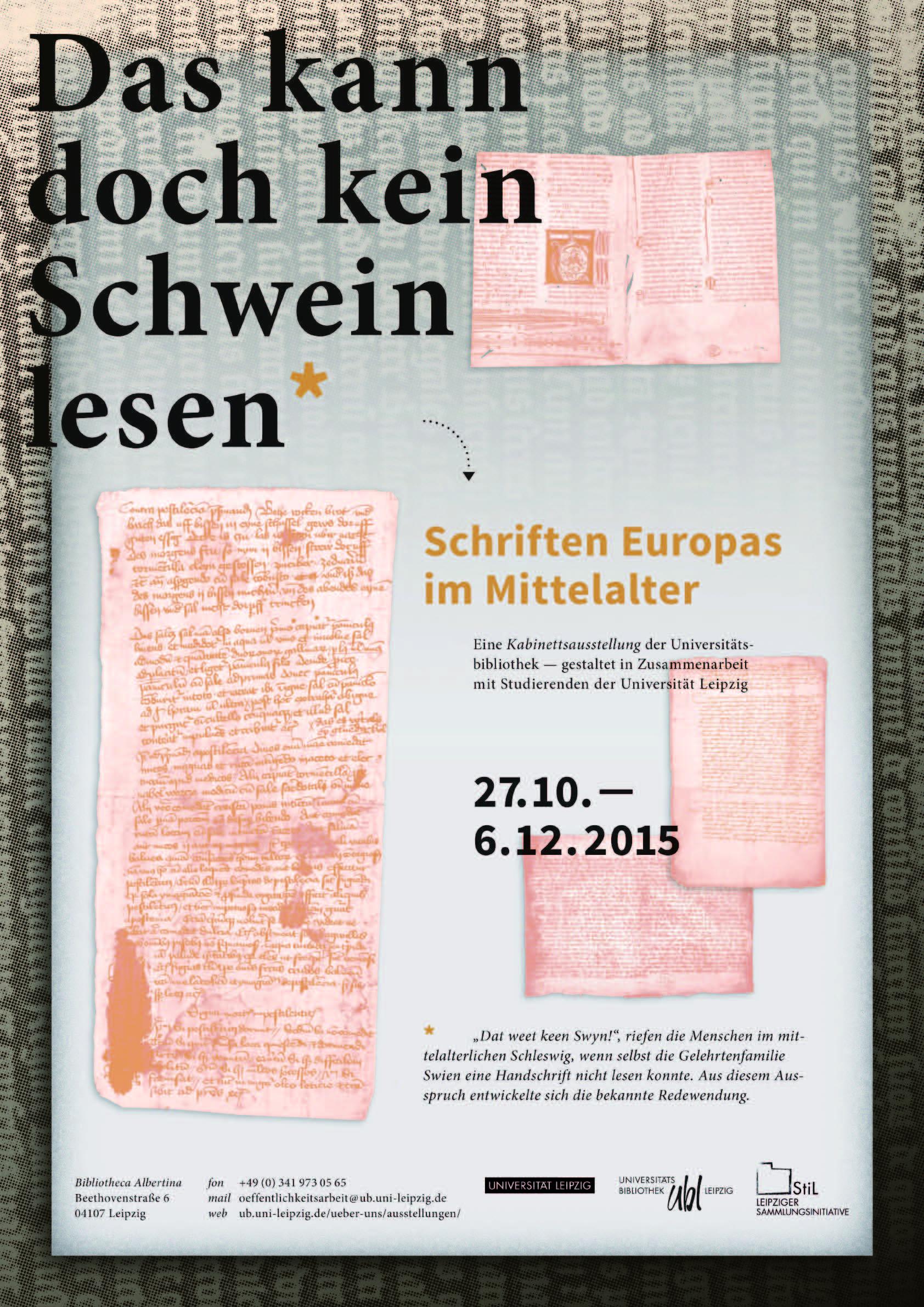 """Poster zur Ausstellung """"Das kann doch kein Schwein lesen"""" (2015)"""