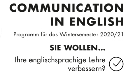 Communication in English: Neues Workshopprogramm für das Wintersemester 2020/21